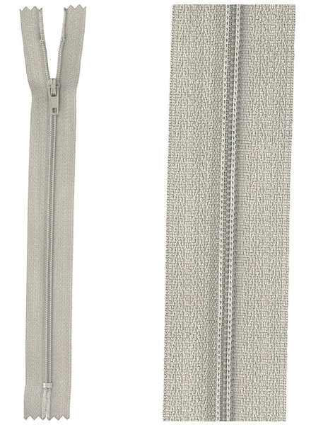 close end zipper -  light grey color 181