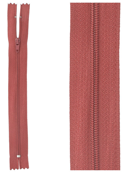 close end zipper - dark red color 520