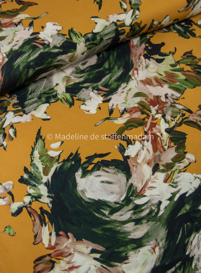 Editex Giulia jurk - oker bloemen - viscose