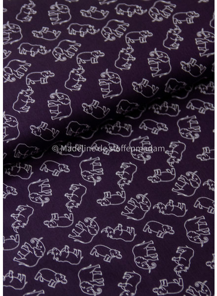 navy Hippo and elephants - cotton
