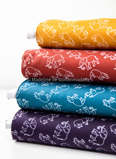 rusty Hippo and elephants - cotton