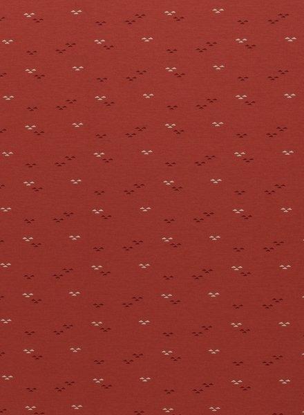 Swafing roest  kleine gekleurde driehoekjes - interlock tricot