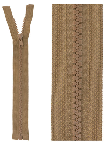 open end zipper - taupe color 563