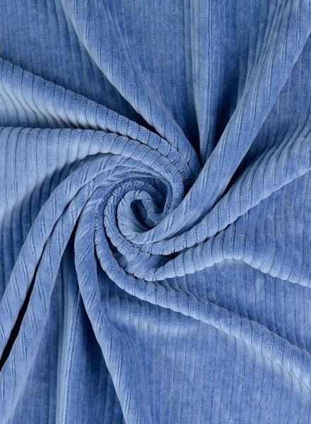 dolfijnblauw - rekbare corduroy - 100% katoen