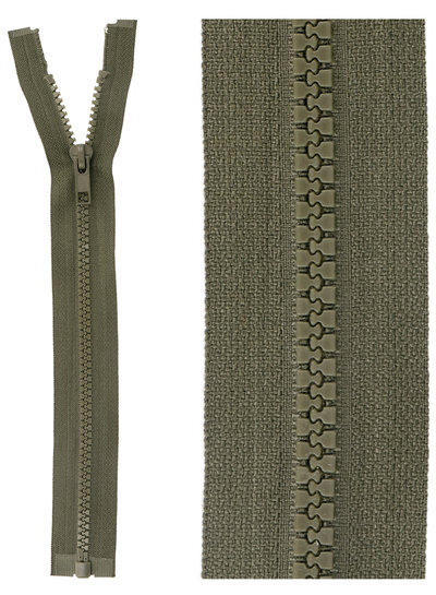 open end zipper -  khaki  color 567