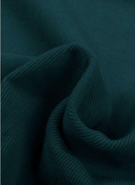 petrolblauw - dunne ribbel rekbare corduroy