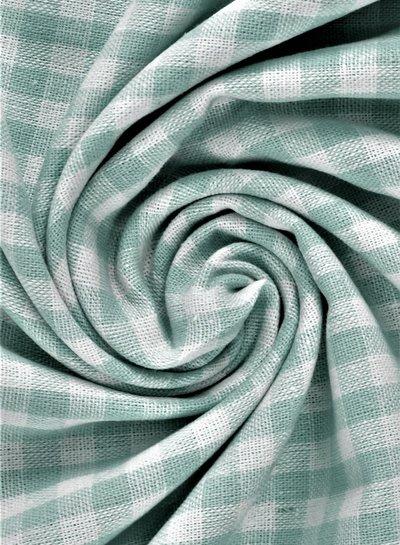 vichy squares dusty eucalyptus green - cotton