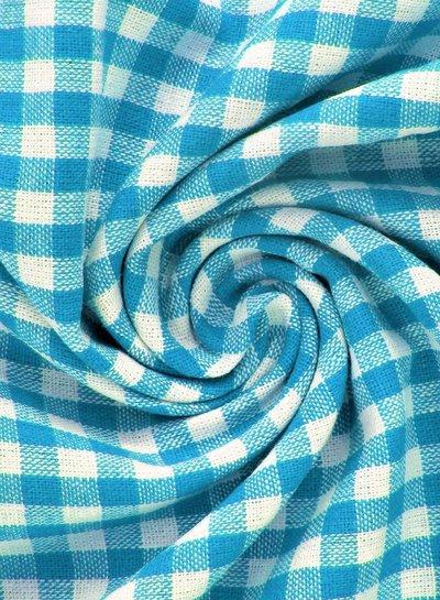 vichy squares heavy blue - cotton