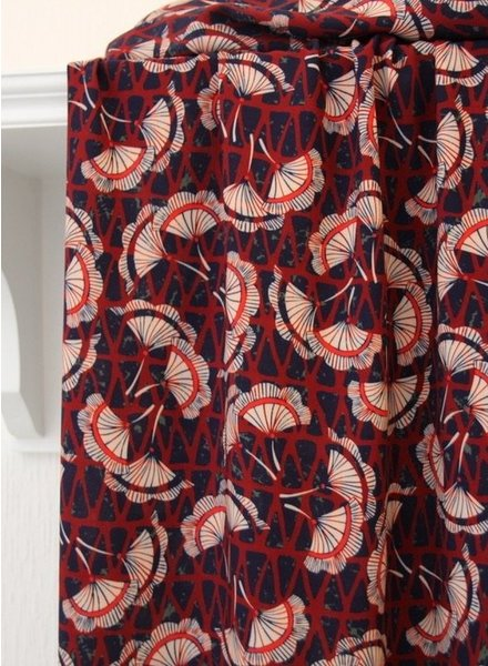 Atelier Jupe Blue and red with beige flowers - viscose
