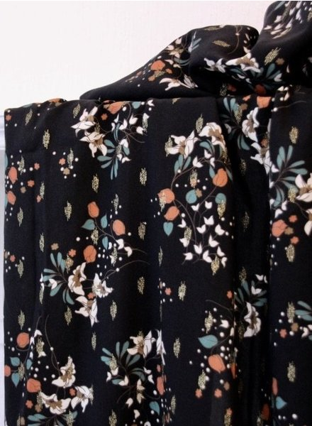 Atelier Jupe Black lurex  with soft flower print - viscose