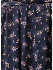 Atelier Jupe Dark blue lurex  with pink flowers - viscose