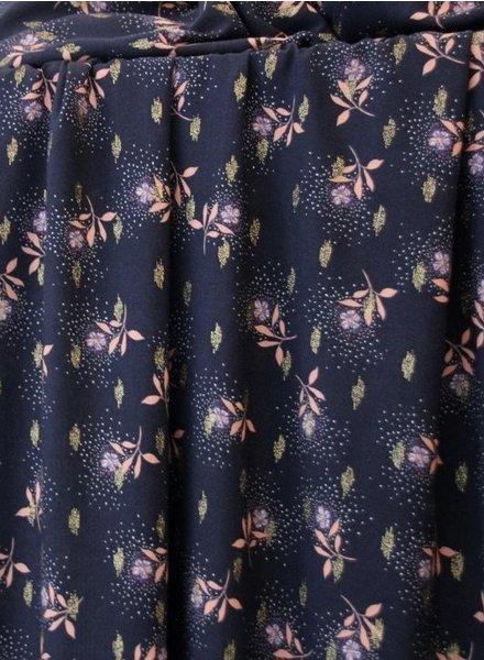 Atelier Jupe Dark blue lurex  with pink flowers - viscose
