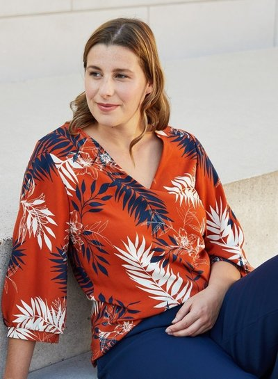 Atelier Jupe Chestnut with big leaves - viscose