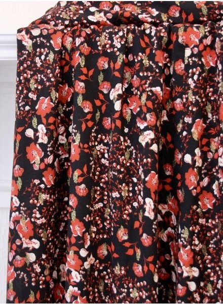 Atelier Jupe Black lurex with small red flowers - viscose