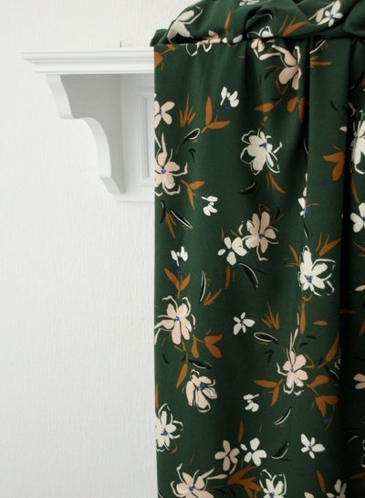 Atelier Jupe Forest green with soft pink flowers - viscose