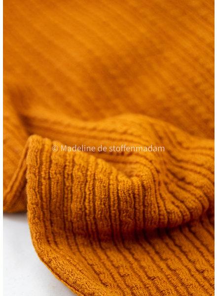 oker kabelstructuur - wasbare wolmix sweater