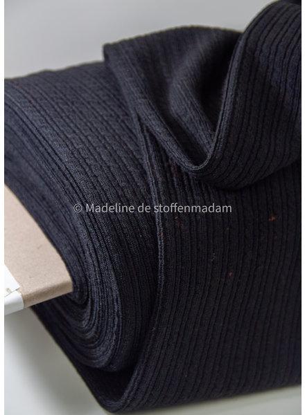 zwart kabelstructuur - wasbare wolmix sweater