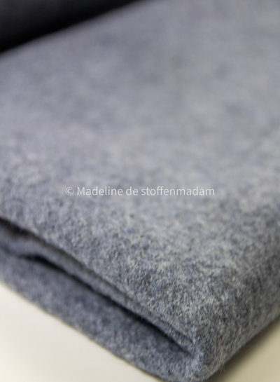 grey blue- boiled wool - bouclé