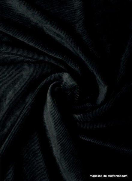 zwart - dunne ribbel rekbare corduroy