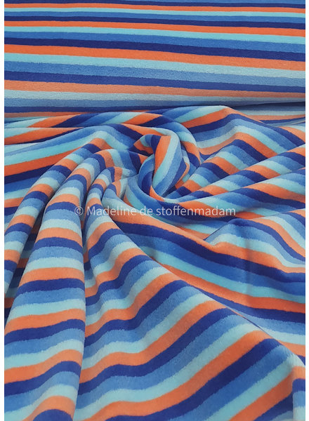 blue and orange stripes - nicky velours - oeko tex