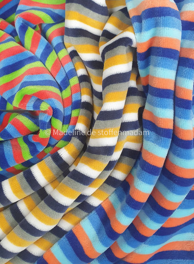M ochre and marine stripes - nicky velours - oeko tex