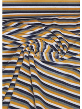 ochre and marine stripes - nicky velours - oeko tex