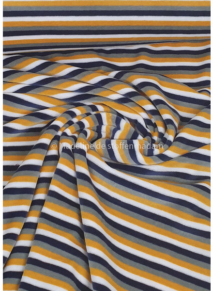 ochre and marine stripes - nicky velours - oeko tex