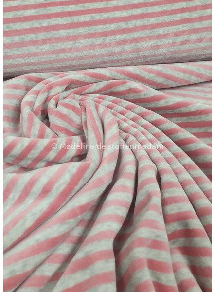 M grijs en roze gestreept - nicky velours - oeko tex