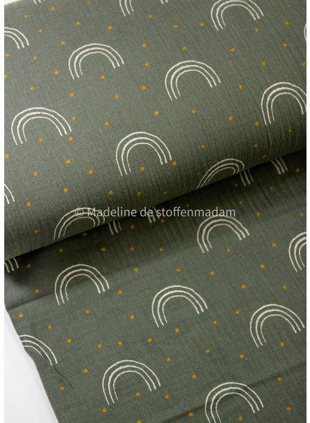 khaki spots and rainbows - double gauze muslin