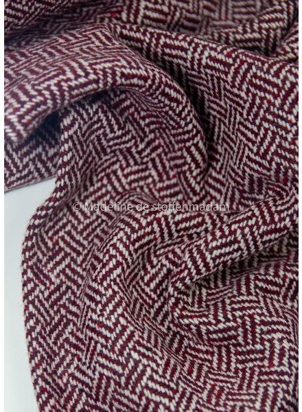 Swafing burgundy herringbone - woolen coat fabric