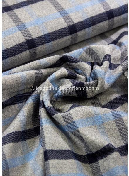 blue checks - woolen coat fabric