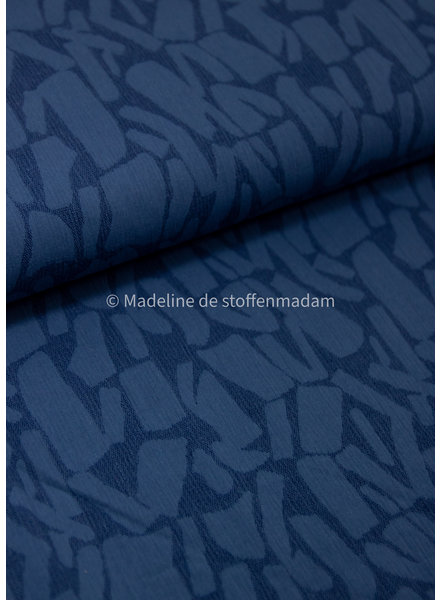 blue bricks - soepelvallende  linnen jacquard mix