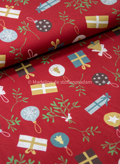 Swafing christmas print red - jersey
