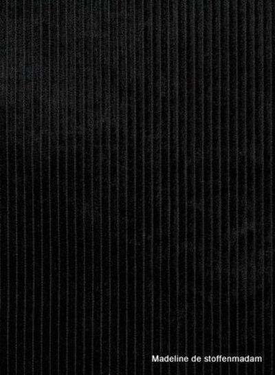 Swafing zwarte corduroy met brede ribbel - ribfluweel magnus
