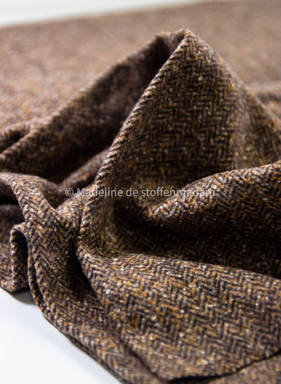 ocre small herringbone - woolen fabric - does not sting