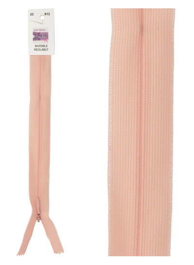 invisible zipper - salmon pink color 812