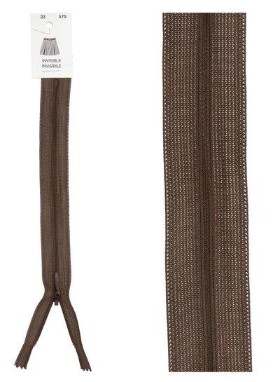 invisible zipper - dark brown color 570
