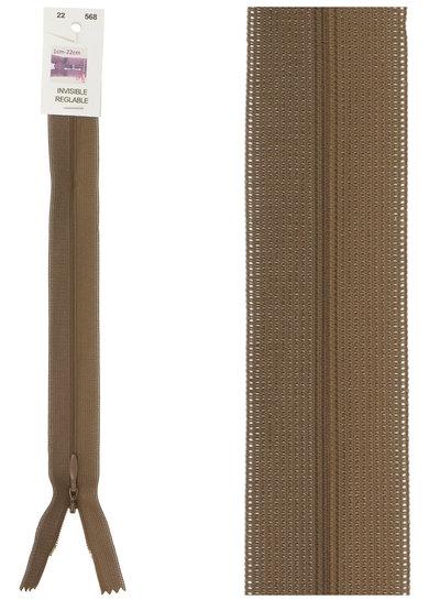 invisible zipper - brown color 568