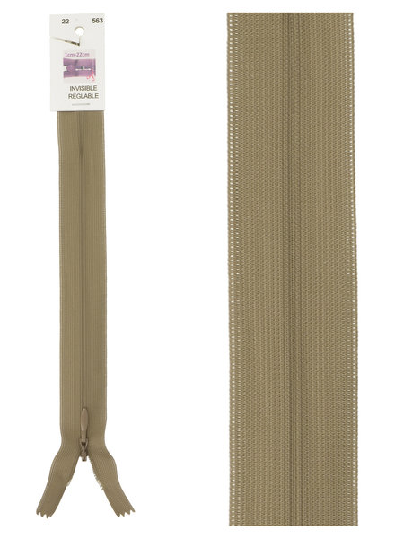 invisible zipper - taupe color 563