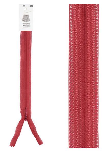 invisible zipper - dark red color 520