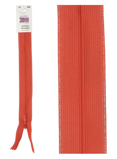 invisible zipper -  lipstick red color 820