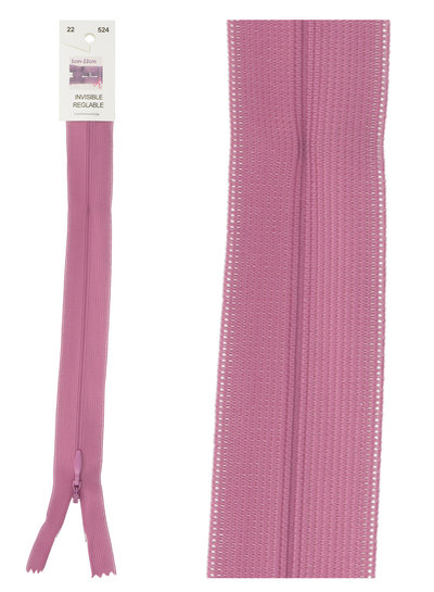 invisible zipper - pink purple color 524