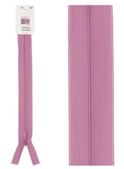naadrits / blinde rits -  lila roze kleur 267