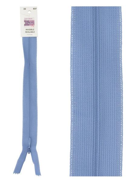 naadrits / blinde rits -  licht denimblauw kleur 837