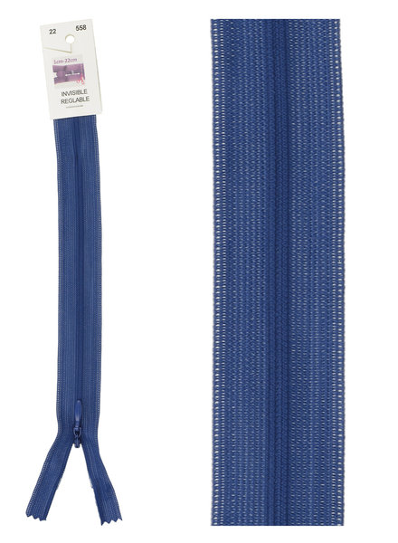 invisible zipper -  cobalt blue color 558