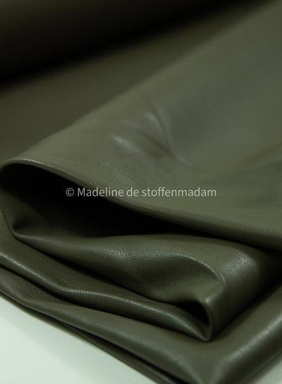 khaki - licht rekbaar imitatieleer voor kleding