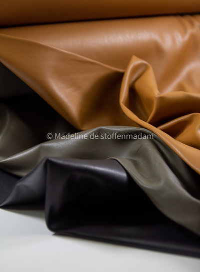 khaki - light stretch faux leather for clothing
