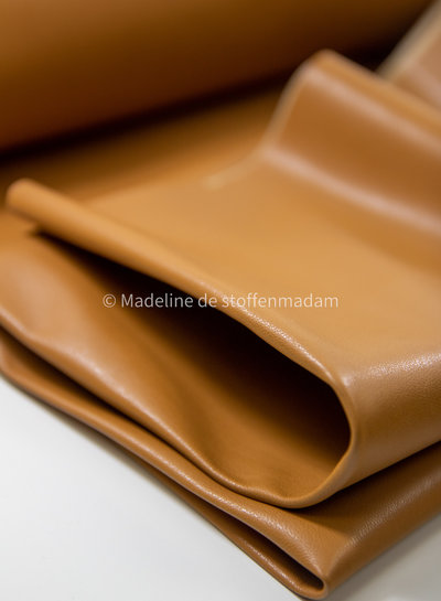 camel - light stretch faux leather for clothing