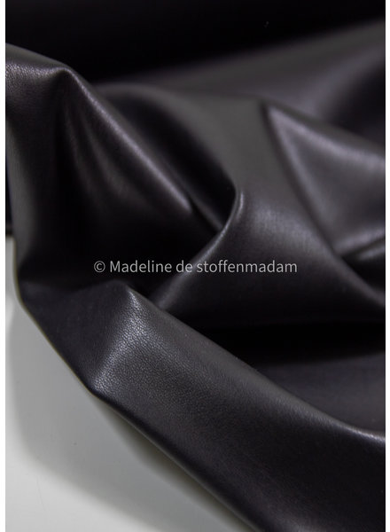 black - light stretch faux leather for clothing