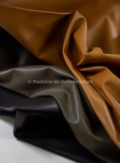 zwart - licht rekbaar imitatieleer voor kleding